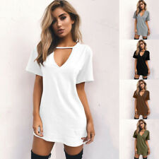 Women Summer V Neck Short Sleeve Dress Solid Casual Beach Tunic A-line Sundress
