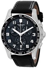 NEW VICTORINOX Classic XLS Black Dial Black Leather Strap Men's Watch 241651