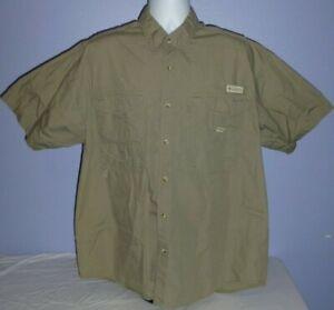 Men's Columbia PFG Khaki Short Sleeve Vented Fishing Shirt L