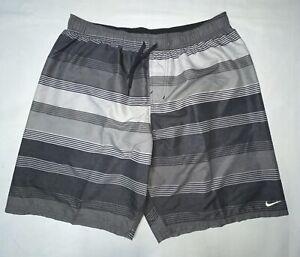 NIKE Swim Trunks Black/Gray Stripped Men's XXL NEW w/Tags 100% Polyester