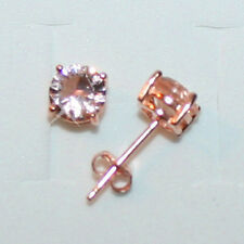 2.50ctw Round Pink Morganite Stud Earrings 6mm 14k Rose Pink Gold over 925 SS