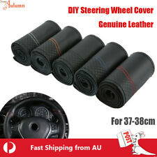 Premium Genuine Leather DIY Car Steering Wheel Cover Auto Protection Needle 38cm