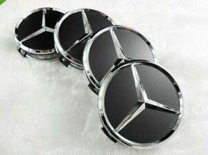4 x 60mm Für Mercedes Schwarz Nabendeckel Nabenkappen Felgendeckel Wheel Cap