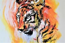 Siberian Tiger Canvas Painting - Contemporary Animal Art Print Giclee Wall Decor