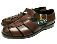 Bragano Brown Leather Slip On Buckled Casual Sandal Shoes Mens 9 M