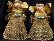 Lot of 2 Vintage Handmade Handcrafted Christmas Angels Gold set of 2