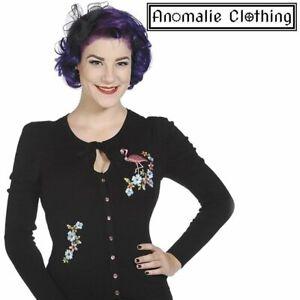 Banned Apparel Black and Pink Flamingo Cardigan Vintage Retro Rockabilly Lolita