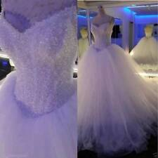 Ball Gown Wedding Dresses Beaded/Crystal Straps Long Formal Tulle Bridal Gowns