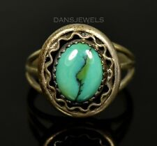 VINTAGE Old Pawn Navajo SPIDERWEB Turquoise Dainty Sterling Ring Size 6.5