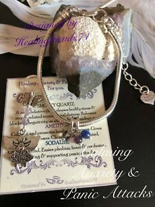 Panic Attack & Anxiety Healing Crystal Bracelet set or Just Charm. Chakra Gift .