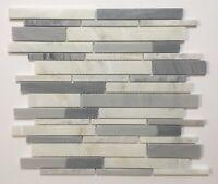 "American Olean Genuine Stone Ice Gray 11"" X 13"" Linear Mosaic Wall Tile-10 Pcs"