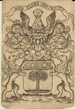 EX-LIBRIS HÉRALDIQUE JULIEN CLOPIN MAGISTRAT BOURGOGNE XVIIème siècle.