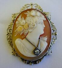 FINE VICTORIAN CARVED CAMEO PIN LADY WEARING A DIAMOND NECKLACE 14k GOLD LOVELY!