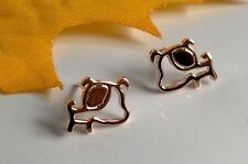 Fashion Big Ear Puppy Dog Rose Gold Plated Hollow-out Stud Earring