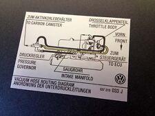 Mk2 Golf G60 Manguera de vacío diagrama de enrutamiento Adhesivo 037 010 033 J