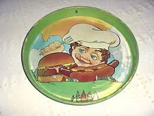 Vintage Hamburger Hot Dog Boy Chef Cheinco Diner Bar Food Serving Metal Tray