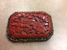 Antique Chinese Export Silver Filigree craved Cinnabar red lacquer pin brooch