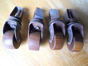 Set of 4 Vintage Wood Caster Wheels chair dresser bed antique old hardware