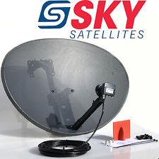 Freesat / Sky 80cm zone 2 satellite dish & quad lnb + 100m Black RG6 Cable kit