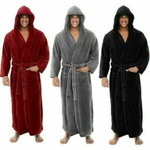 Men's warm large pajamas with hood and patch bag bathrobe