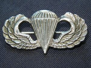 A+ WWII US Army Airborne Jump Wing Paratrooper Sterling Pin Badge