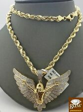 Real 10k Yellow Gold & Diamond Guardian Angel Charm with 26 Inches Rope Chain.