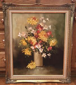 "ROBERT COX Original VTG 1960s Floral Still Life Oil on Panel Ornate Frame 29.5"""
