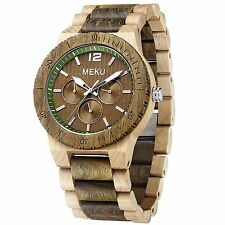 MEKU Mens Wood Wrist Watch Quartz Day Date Wooden Watch Gift