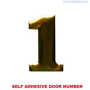 Self Adhesive House Door Number 1 Plaque Sign Gold Home Letter Apartment 35 Gate