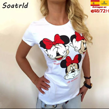Minnie Mouse disney Camiseta divertida graciosa de manga corta para mujer,niña
