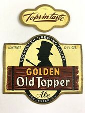 Vintage Golden Topper Ale Rochester Brewing Beer Label & Neckband