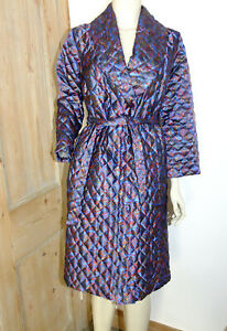 Vintage Quilted Dressing Gown House Coat Paisley 80s S Canda Vtg Retro Blue Belt