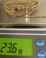 UNIQUE 14K YELLOW GOLD WIDE 15mm VINTAGE LINK BRACELET 23.6 Grams