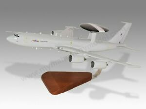 Boeing E-3D Sentry AWACS RAF Solid Mahogany Wood Replica Airplane Desktop Model