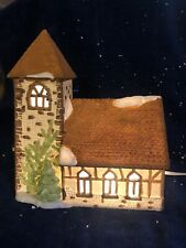 Dept 56 DICKENS' VILLAGE CHURCH YELLOW Christmas Building Light RETIRED 1989 EUC