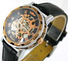 Montre-bracelet mécanique automatique en cuir noir squelette d'or noir hommes