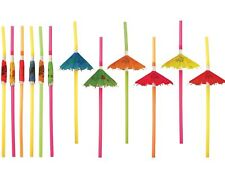 24 x Hawaiian Hula Beach Party Cocktail Umbrella Parasol Drinking Straws X00 611