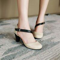 Womens Cross Strap Mid Cone Heels Mary Janes Roman Round Toe Casual Prom Shoe Sz