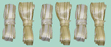 Bulk Pack - Ribbon Satin 9mm  3 x White/Gold 3 x Ivory/Gold 4 metre Lengths