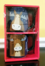 Tim Hortons Foundation Ltd Ed Horse, Cow w/ Antlers Stackable Coffee Mug Set NEW