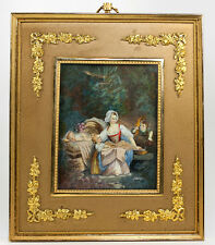 """Lovely Antique 19th c. Signed 7"""" Miniature Painting in Dore Bronze French Frame"""