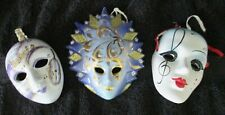 Set of Three Small Porcelain Wall Decor Masks