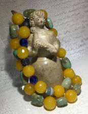 """Faceted Yellow Calcite & Green Turquoise Blue Crystal Toggle Necklace 24"""" 171g"""