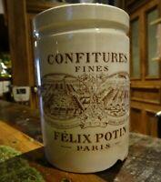 Ancien pot confiture publicitaire Félix Potin,Paris Faïence signé K&G Lunéville
