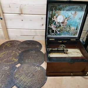 Vintage Polyphon music box with 6 discs wooden case Good working order