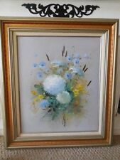 "Wall Decor Floral Painting Original Signed h. Swars 32"" x 28"" Framed Art"