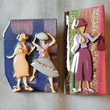 Lot 2 Handcrafted Artisan Brooch Pin By Lucinda Women 1 Glitter Shopping Dancing