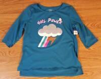 Girls Arizona Plus 2XL 20 1/2 Teal Cloud Theme Shirt Top NWT NEW Flip Sequin