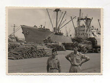 PHOTO ANCIENNE 1950 Marine Militaires Soldats Navire Colomb Bechar Cargo