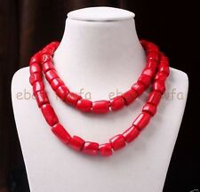 "Charm Red Cylinder Coral Bead Long Necklace Gemstones Woman Jewelry 35"" AAA"